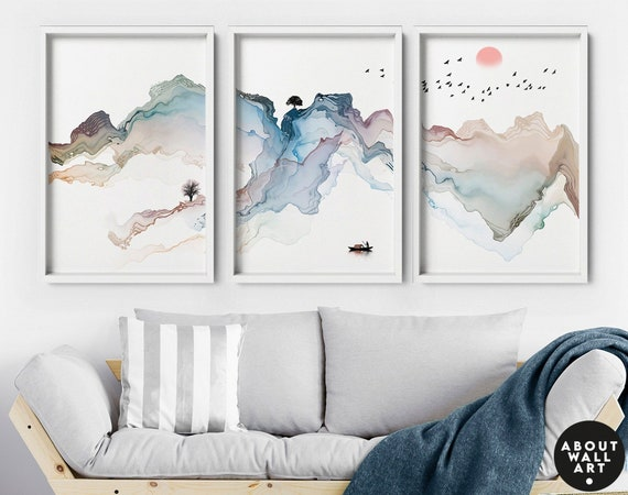 Watercolor Minimal Landscape Mountain Set of 3 Prints, Livingroom Wall Decor, Above The Bed Wall Art, Wall Hangings Home Office Décor