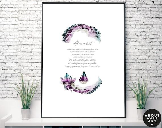 Alexandrite Birthstone crystals Art Print, June Birthday Gift for sister, Alexandrite stone gift for wife, Cancer Gemini Birthstone gift