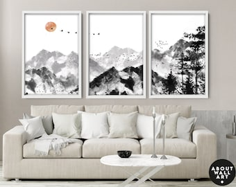 Home Decor, Wall hanging, Set x 3 Prints, office decor, Living Room decor, wall decor, art prints, wall decor, Minimalist gallery wall
