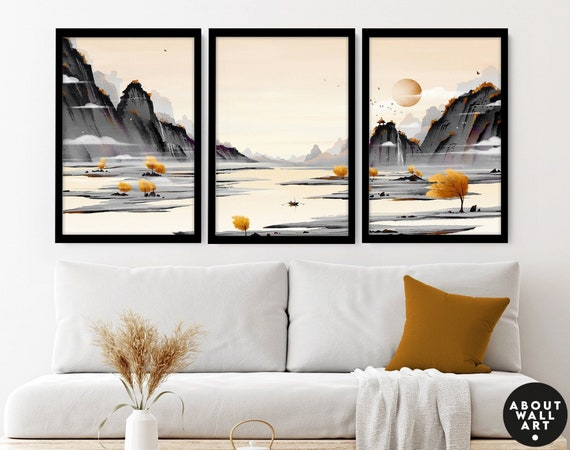 Japanese Painting poster prints set x 3, Yellow calming office decor, Asian inspired wall decor, Landscape minimalist mountain scape prints