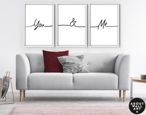 Anniversary, Valentine's day, Set x 3 couple gift prints, Bedroom Wall Decor, Art Prints, Personalized gift, Customizable print, You and Me