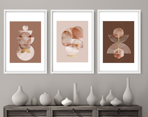 Large Minimalist Wall art prints set of 3, Living room Neutral mid Century Modern gallery wall set, Abstract Art Deco framed  wall hanging