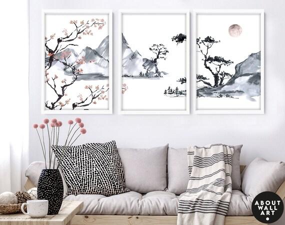 Sunrise trendy watercolour art prints, Cherry Blossom Wall Decor, boho decor bedroom wall art prints set x 3, calming poster, relaxing gift