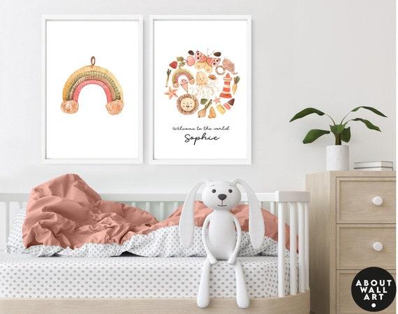 Safari nursery wall art 3 piece set for baby girl, Rainbow custom nursery name sign little girl bedroom, mom to be gift, expecting mom gift