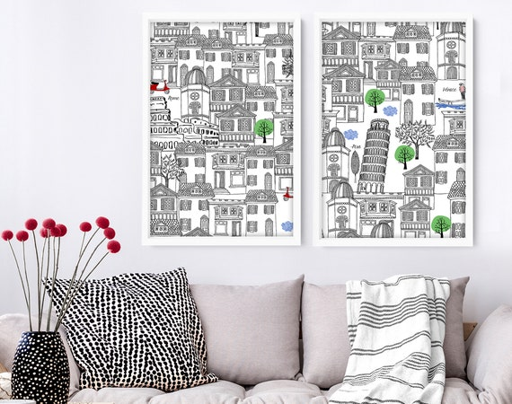 Rome Print set of 2 Prints, Rome Monuments Illustration Print, Italy Outline silhouette, Italy Iconic Landmarks