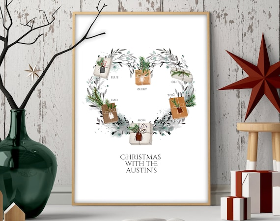 Cute custom christmas gift for mom and dad, Personalised holiday christmas wreath print, Sentimental christmas presents for mother in law