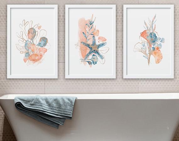 Seashells Art Print Set of 3, Relax Sign Bathroom, Spa Bathroom Decor, Mothers Birthday Gift From Daughter, Tropical Bathroom Prints