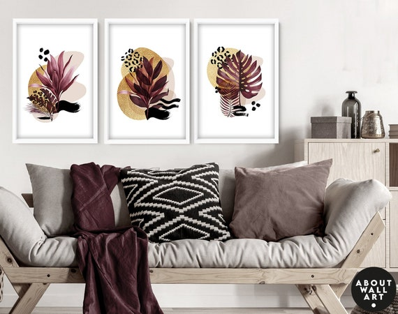 Wall decor living room set of 3 Tropical decor wall art prints, Glam Decor Home, Office decor gift for mom, House warming gift for friend