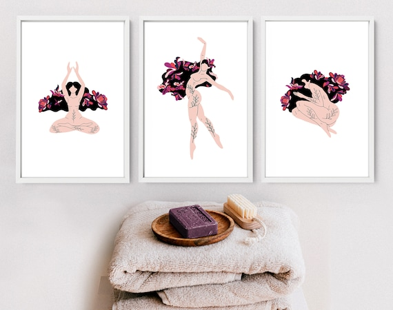 Bathroom Quotes Prints Set of 3, Botanical Prints Wall Art , Aesthetic Spa Decoration, First Home gift for best friend, Relaxation gift