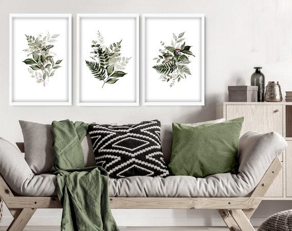 Home Decor Wall Art, Boho Botanical Set of 3 Prints, Living room Wall Decor, Wall Hangings Home Office Decor, Above the Bed Wall Art,