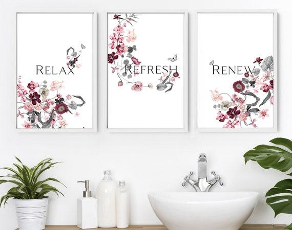 Spa Bathroom Art, Botanical Bathroom, Plant Print Set of 3, Bohemian Decor, Relaxation gifts, Bathroom Wall Decor, New Home gift from friend