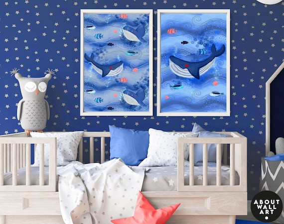 Sea themed nursery decor for baby boys, Set of 2 custom name Whales prints, Underwater bedroom wall art for toddler boy, baby shower gift