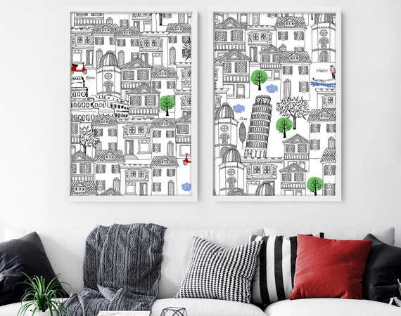 Above bed Decor, Home Decor, Wall hanging, Set x 2 Rome Poster Art Prints, Living Room Decor, wall Decor, travel poster, travel gift