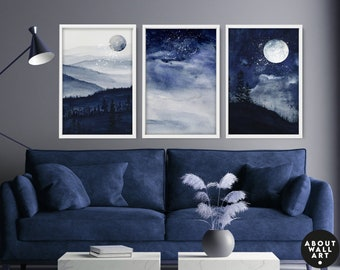 Watercolor Minimal Landscape Mountain Set of 3 Prints, Living-room Wall Decor, Above The Bed Wall Art, Wall Hangings Home Office Decor