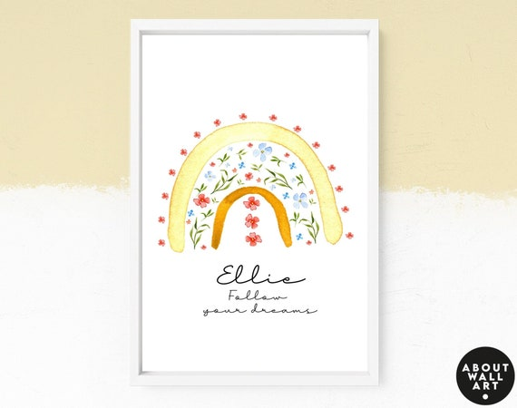 Boho Rainbow decor wall art for a bright and colourful bedroom, Personalised art print for little girls, cottage core nursery decor gift