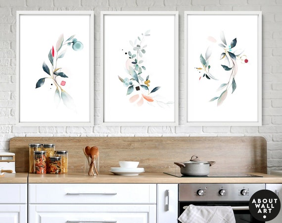 Floral Wall Hanging, Kitchen Decor Ideas, Garden Mom Gift, Gardener Gifts For Women, Plant Mom Gift, Entryway Decor Wall Set Of 3 Art Prints