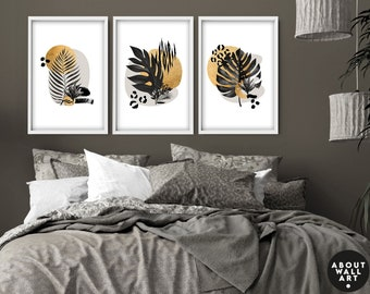 Home Decor, Wall hanging, Set x 3 Prints, office decor, Living Room decor, wall decor, art prints, Botanical Print, Gold botanical luxury