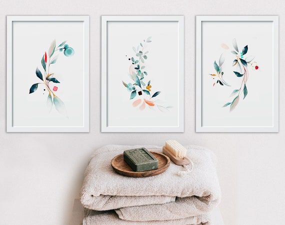 Botanical Bathroom Prints Set of 3, Wash Your Worries Away, Relax Sign Bathroom, Spa Bathroom Decor, Mothers Birthday Gift From Daughter