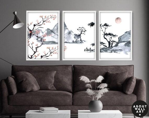 Home Decor Wall hanging, Japandi prints Cherry Blossom Home Decor Wall art, Office decor gift, Zen Garden Set of 3 Prints, Japanese art