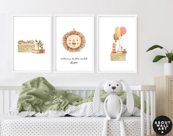 Boho nursery decor 3 piece wall art set for baby boy, vintage toys Earth toned custom name sign for boys, Lion nursery, 1st time mom gift