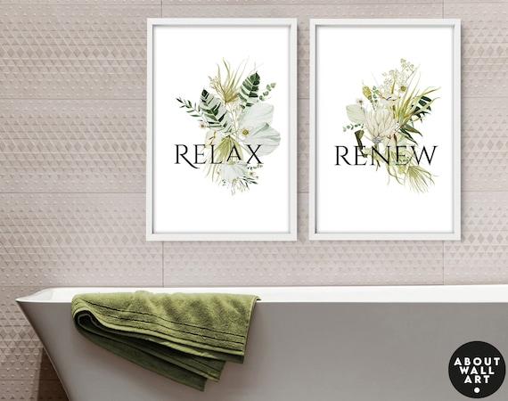 Home Decor Bathroom, Tropical Bathroom Aesthetic Spa Decoration, Botanical Prints Wall Art Set of 2, Guest Room Decor, New Home Gift for mom