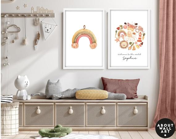 Nursery jungle wall art prints, 3 piece wall art for baby girl, rainbow custom nursery name sign girl, baby shower gift, expecting mom gift