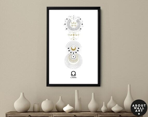 Zodiac art prints Libra gifts, Horoscope print personalised gift for sister, Libra Constellation, September October Birthday gift, Astrology