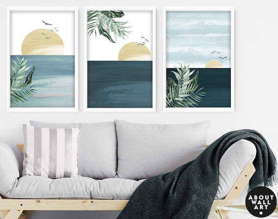 Calming Watercolor Painting Print | Set of 3 Beach Decor Wall Prints | Coastal Wall Art | Modern Artwork for Office Decor and Living Room