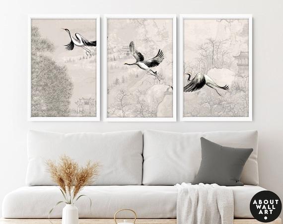 Home Decor Wall hanging, Japanese Art New Home gift, Japanese Cranes Home Decor Wall art, Office decor gift, Zen Garden Set of 3 Prints