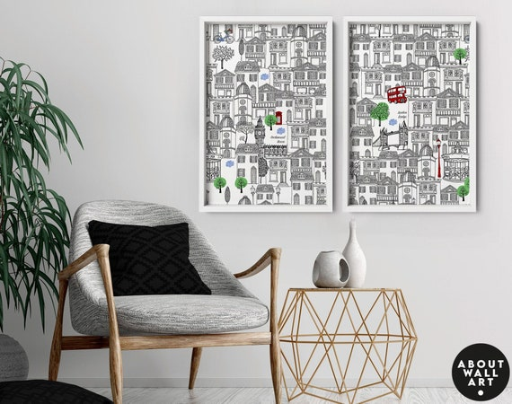 Set x 2 London Art Prints, Home Decor, Wall hanging, above bed decor, Living Room decor, wall decor, travel poster gift