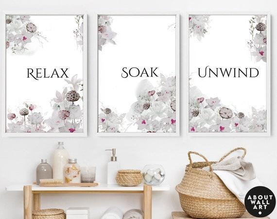 Bathroom decor set of 3 wall art prints, framed wall art prints for toilet, spa decor for walls, relaxation gift for women, botanical boho