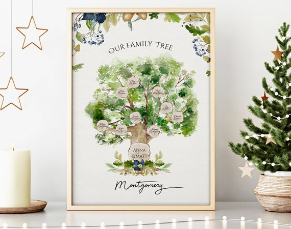 Grandmother family tree christmas gift ideas, housewarming christmas home art gift, secret santa gifts at work, xmas gift for mother in law