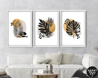 gold botanical art print, gardener gifts for women, tropical wall art set of 3, entryway decor wall, wall decor living room, boho decor
