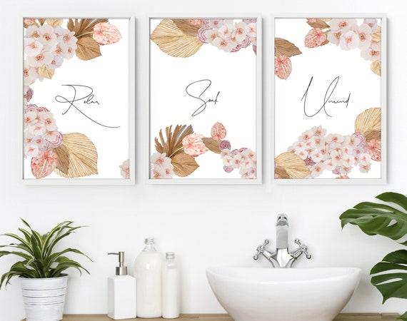 Women Bathroom Art Prints, Plant Prints, Relax Sign Bathroom, Spa Bathroom Decor, Quotes Print Set of 3, Tropical Prints, Botanical Bathroom