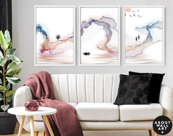 Sunrise trendy watercolour art print, Colourful home decor prints, boho decor bedroom wall art prints set x 3, calming poster, relaxing gift