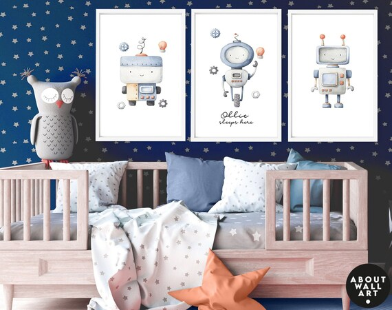 Robots Kids desk decor, 3 piece wall art set for baby boy nursery decor, custom name toddler boy art prints, mom to be gift, expecting mom