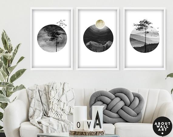 Above Bed Art, Set of 3 Calming Watercolour Art, Zen Wall Art, Office Decor, Minimalist Gallery wall, Home Decore, Wall hangings