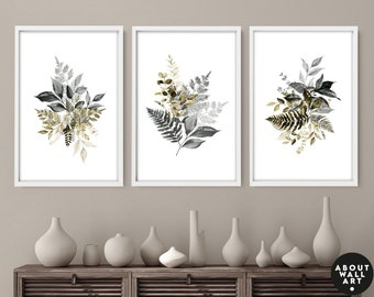 Botanical Illustration, Home Decor Wall Art, Set of 3 Prints, Living room Wall Decor, Wall Hangings Home Office Decor, Above the Bed wall