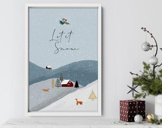Cute christmas gift living room decor wall art for mom, Modern Christmas decorations for the home, Sentimental presents, Let it snow sign