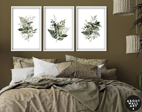 Home Decor Wall Art, Botanical Floral Set of 3 Posters, Minimalist Farmhouse Wall Hangings,  Apartment Gallery Living Room Wall Art ,
