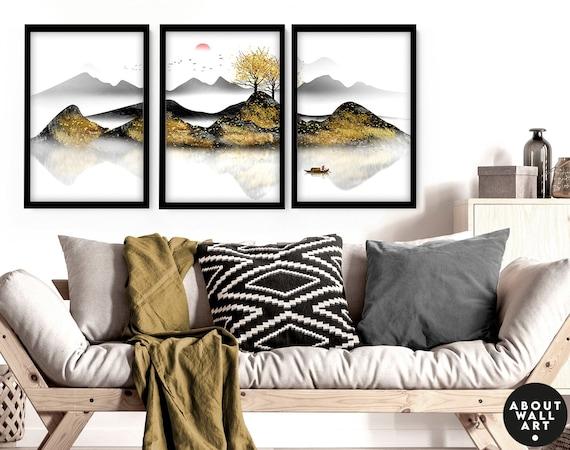 Office decor Set x 3 Wall art Prints, Home decor Japanese art, calming zen wall decor, Japandi illustration living room decor, minimalist