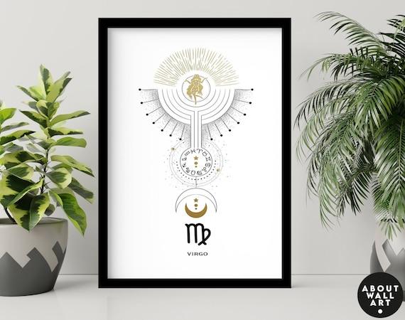 Zodiac art prints Virgo gifts, Horoscope print personalised gift for sister, Virgo Constellation, August September Birthday gift, Astrology