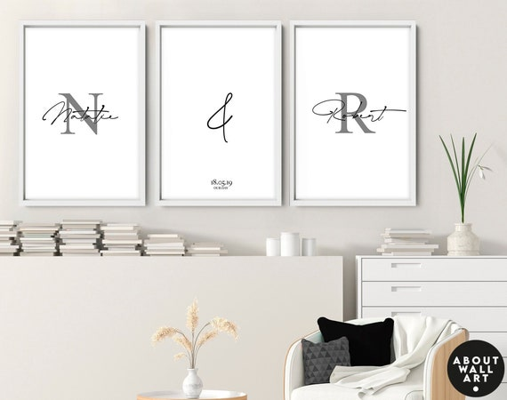 Customisable Couples Gift ,Line Drawing, Male and Female Prints, Above Bed Decor, Our First Home 3 Piece Wall Art, Minimalist Wall Decor