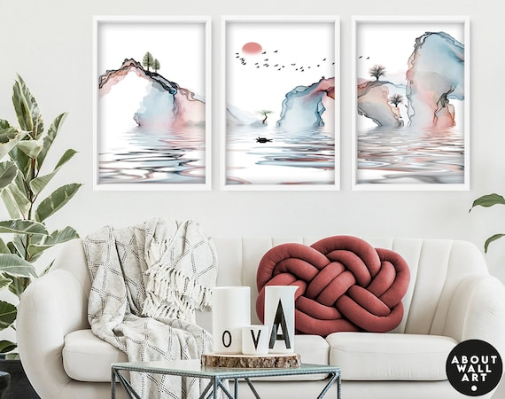Calming Watercolor Painting Print | Set of 3 Minimalist Wall Prints | Zen Wall Art | Modern Artwork for Office Decor and Living Room