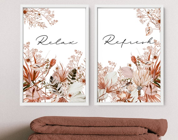 Spa Bathroom Art, Botanical Bathroom, Plant Print Set of 2, Bohemian Decor, Relaxation gifts, Bathroom Wall Decor, New Home gift from friend