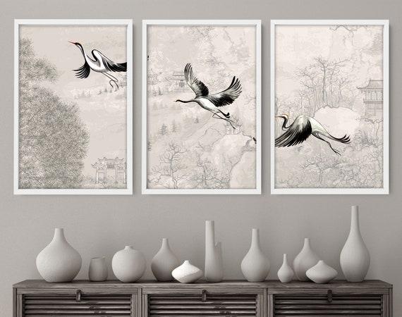 Office decor wall art Set of 3 Prints, Cranes Japanese art Home decor, calming zen wall decor, Japandi illustration, minimalist print