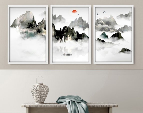 Japanese Painting poster prints set x 3, Teal calming office decor, Asian inspired wall decor, Landscape minimalist mountain scape prints