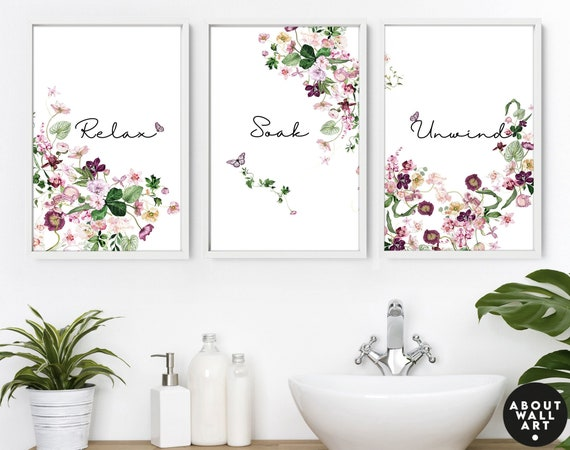 Home Decor Bathroom art prints set of 3, Botanical, Tropical Spa Bathroom Decor, relax sign bathroom, Mothers Birthday gift from daughter,