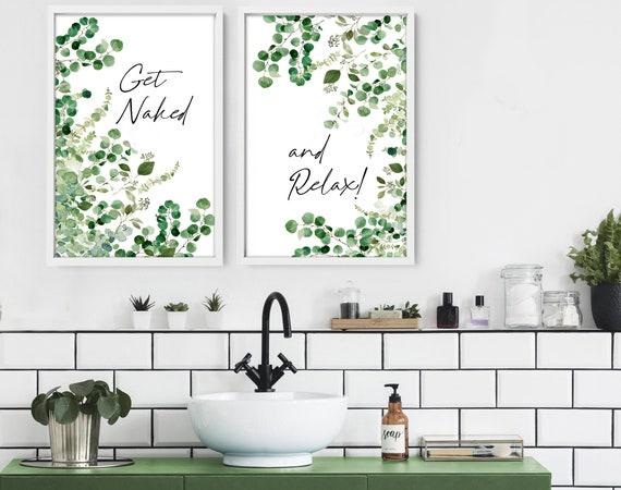 Relax Sign Bathroom, Spa Bathroom Decor, Mothers Birthday Gift From Daughter, Botanical Bathroom Prints Set of 2, Home Decor Bathroom Prints
