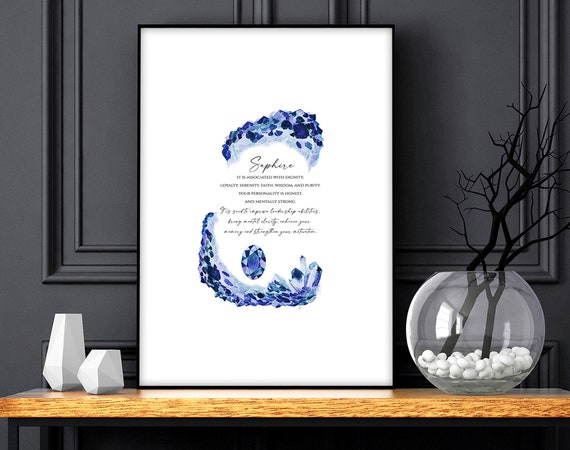 Sapphire Birthstone crystals Art Print, September Birthday Gift for friend, Sapphire stone gift for wife, Libra Virgo personalized gift